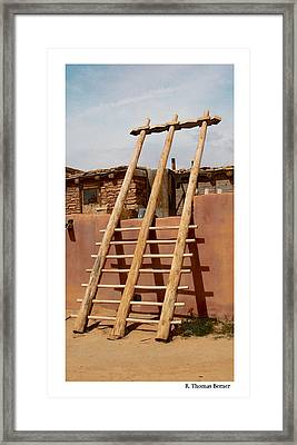 Framed Print featuring the photograph Acoma Ladder by R Thomas Berner