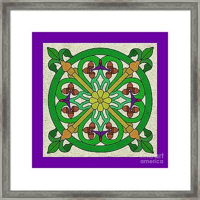 Acorn On Cream/purple Framed Print by Curtis Koontz