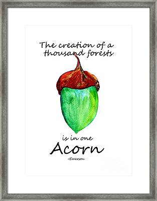 Acorn Quote -emerson Framed Print by Sweeping Girl