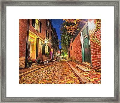 Acorn Street Autumn Boston Mass Street Light Framed Print by Toby McGuire