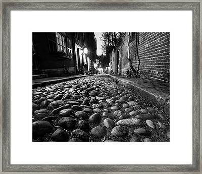 Acorn Street Cobblestone Detail Boston Ma Black And White Framed Print by Toby McGuire