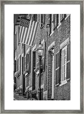 Acorn Street Details Bw Framed Print