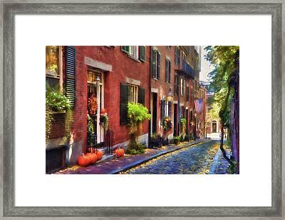 Acorn Street In Autumn Framed Print by Joann Vitali