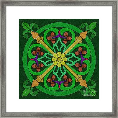 Acorns On Forest Green Framed Print by Curtis Koontz