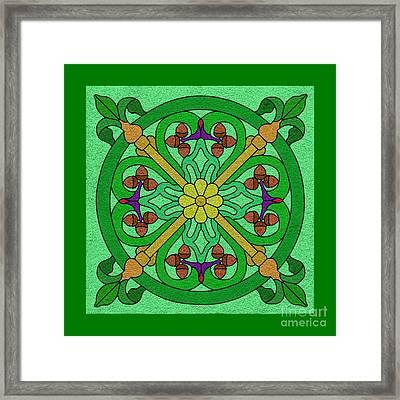 Acorns On Light Green Framed Print by Curtis Koontz