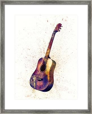 Acoustic Guitar Abstract Watercolor Framed Print by Michael Tompsett