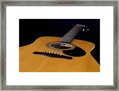 Acoustic Guitar  Black Framed Print by M K  Miller
