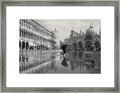 Acqua Alta, Piazza San Marco, Venice, Italy Framed Print by Richard Goodrich