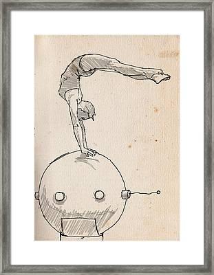 Acrobat On Robot Framed Print