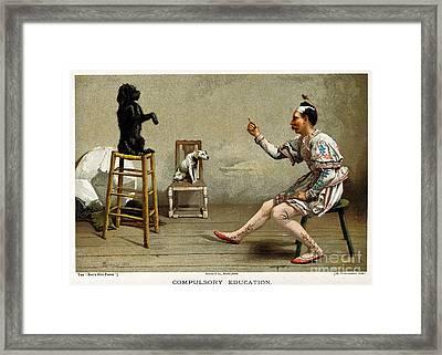 Acrobat Teaching Dog New Tricks, 1889 Framed Print