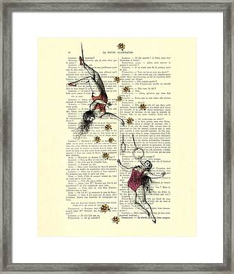 Acrobatics Women Circusact Vintage Illustration On Book Page Framed Print by Madame Memento