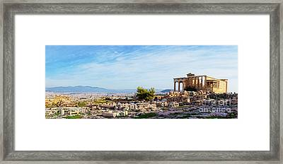 Acropolis Of Athens Panoramic Framed Print by HD Connelly