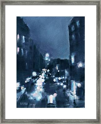 Across 23rd Street Nyc High Line At Night Framed Print by Beverly Brown