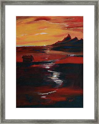 Across Amber Fields To The Sea Framed Print by Donna Blackhall