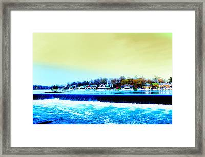 Across The Dam To Boathouse Row. Framed Print by Bill Cannon