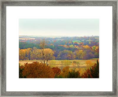 Across The River In Autumn Framed Print
