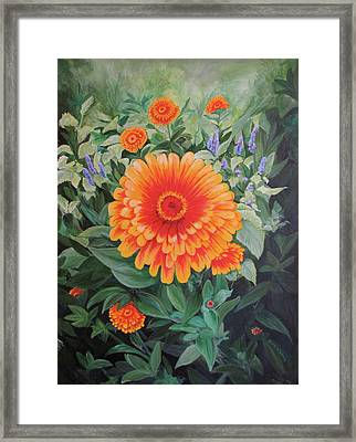Acrylic Flower Painting - Zoozinnia Framed Print by Avril Whitney