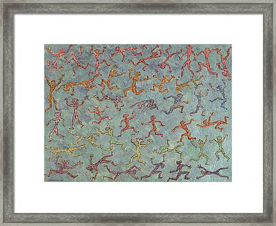 Acrylic Stickmen Character Painting Framed Print by Carl Deaville