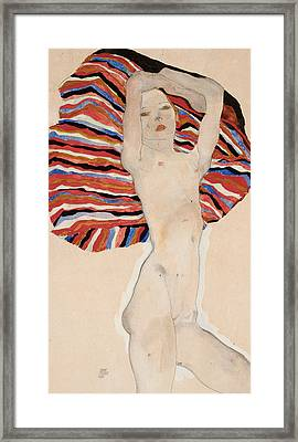Act Against Colored Material Framed Print by Egon Schiele
