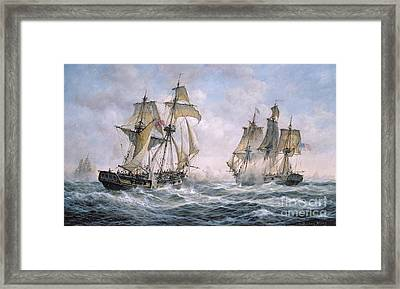 Action Between U.s. Sloop-of-war 'wasp' And H.m. Brig-of-war 'frolic' Framed Print by Richard Willis