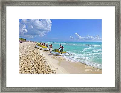 Framed Print featuring the digital art Active Beach M3 by Francesca Mackenney