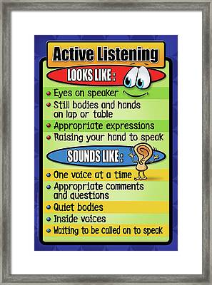 Active Listening Poster Framed Print by Shevon Johnson