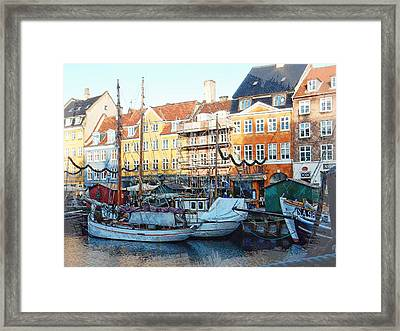 Activity On Nyhavn Harbour Framed Print by Dorothy Berry-Lound