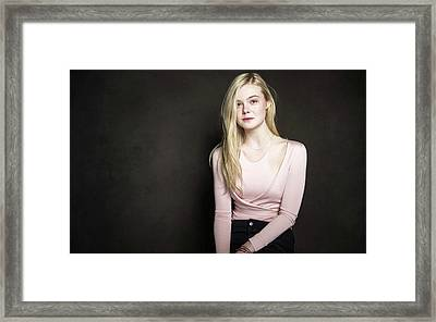 Actress Elle Fanning Framed Print by F S