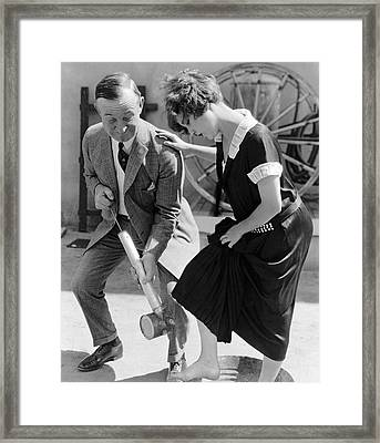 Actress Gets Feet Sprayed Framed Print by Underwood Archives