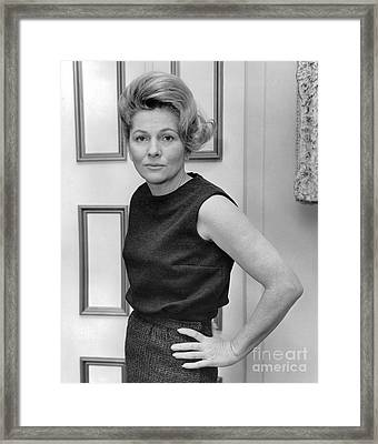 Actress, Joan Fontaine, Poses For The Ny Post. 1962 Framed Print by William Jacobellis