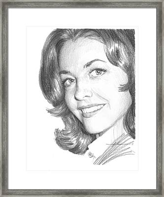 Actress Myrna Fahey Closeup Pencil Portrait Framed Print by Mike Theuer