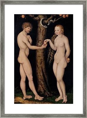 Adam And Eve In The Garden Of Eden Framed Print by The Elder Lucas Cranach