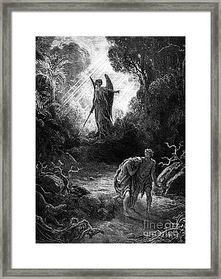 Adam And Eve Leaving Paradise Framed Print by Gustave Dore