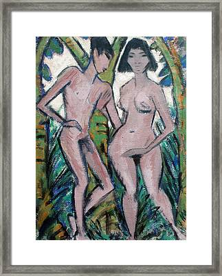 Adam And Eve Framed Print by Otto Mueller