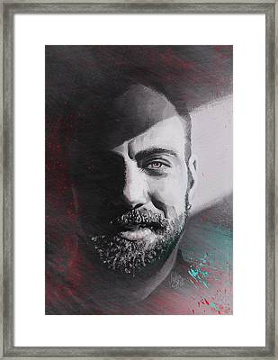 Framed Print featuring the drawing Adam Gontier. Three Days Grace. Saint Asonia by Julia Art