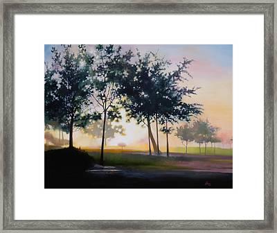 Adam-ondi-ahman Sunrise Framed Print by Lester Nielsen