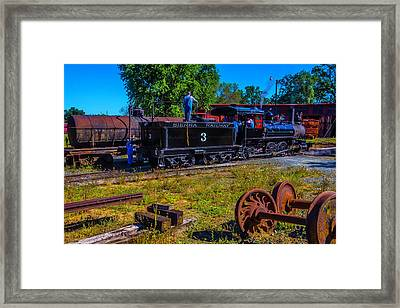 Adding Oil To Steam Train No 3 Framed Print by Garry Gay