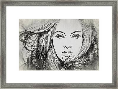 Adele Charcoal Sketch Framed Print by Dan Sproul