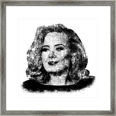 Adele Text Portrait - Typographic Face Poster With The Lyrics For The Song Hello Framed Print by Jose Elias - Sofia Pereira