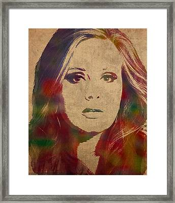 Adele Watercolor Portrait Framed Print