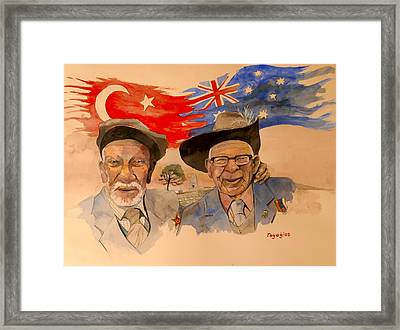 Framed Print featuring the painting Adil Sahin And Len Hall by Ray Agius