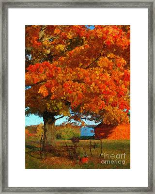 Framed Print featuring the painting Adirondack Autumn Color Brush by Diane E Berry