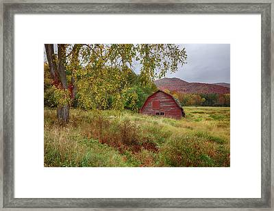 Adirondack Barn In Autumn Framed Print