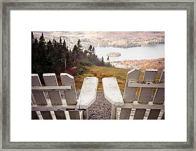 Adirondack Chair On Mountain Top Framed Print