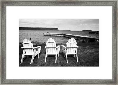 Adirondack Chairs And Water View At Ephriam Framed Print