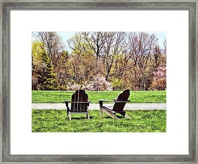 Adirondack Chairs In Spring Framed Print by Susan Savad