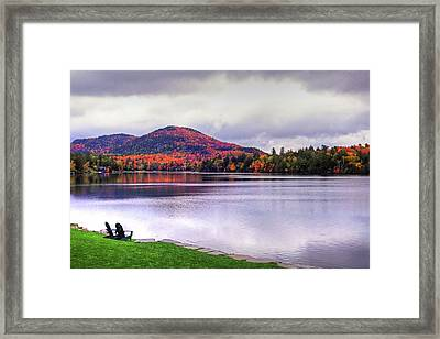 Adirondack Chairs In The Adirondacks. Mirror Lake Lake Placid Ny New York Mountain Framed Print