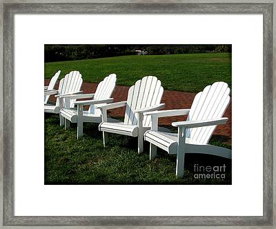Adirondacks In White Framed Print by Colleen Kammerer