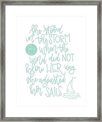 Adjusted Her Sails Framed Print by Nancy Ingersoll