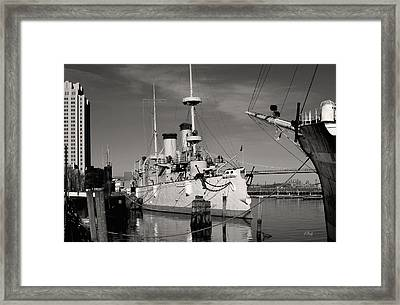 Admiral Dewey's Flagship Monochrome Framed Print